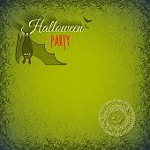 picture of vampire bat  - Halloween background with hanging bat vampire on a green grungy background in cracks and scratches - JPG