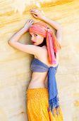 picture of turban  - Woman wearing a turban in the desert - JPG