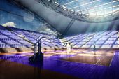 picture of arena  - 3d basketball city arena render in lights - JPG