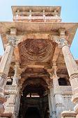stock photo of hindu-god  - Ancient rock curved temples of Hindu Gods and godess at Mandor garden Jodhpur Rajasthan India - JPG