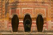 stock photo of radha  - Pancharatna Govinda Temple facade in Puthia Bangladesh - JPG