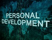 image of self assessment  - Personal Development text concept on green digital world map background - JPG