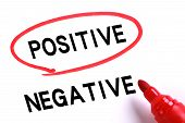 stock photo of positive negative  - Choosing Positive instead of Negative with red marker - JPG