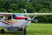 image of cessna  - Cessna propeller airplane landing on soft jungle strip - JPG