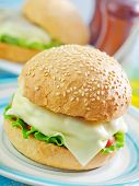 picture of bap  - cheese burger on plate and on a table - JPG