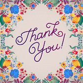 stock photo of courtesy  - Thank You Abstract Floral Background Callygraphy - JPG