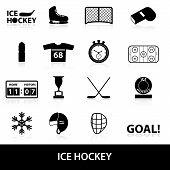 picture of ice hockey goal  - ice hockey sport black icons set eps10 - JPG