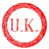 stock photo of initials  - The initials UK on a red grunge effect stamp - JPG