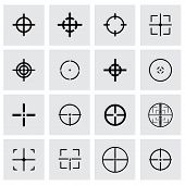 picture of crosshair  - Vector crosshair icon set on grey background - JPG