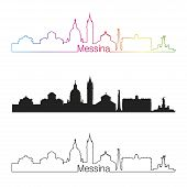 pic of messina  - Messina skyline linear style with rainbow in editable vector file - JPG
