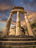 picture of oracle  - The Tholos at the sanctuary of Athena Pronoiat Delphi is a circular building that was constructed between 380 and 360 BCE - JPG