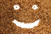stock photo of flax seed oil  - Smiling face of flax seeds on a white background - JPG