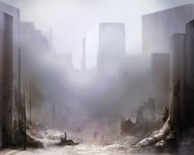 image of corps  - Illustration of a world war 2 daylight battle scene with soldiers and destroyed buildings background - JPG