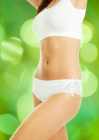 pic of knickers  - Midsection of slim woman in underwear against green background - JPG