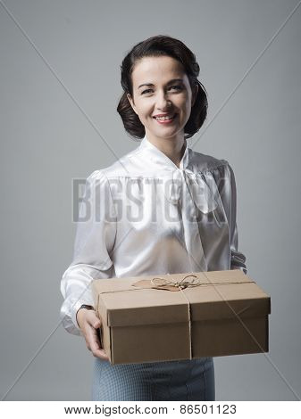 Smiling Vintage Woman With Mail Package