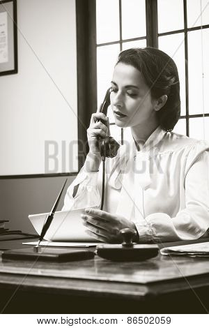 Attractive Vintage Secretary On The Phone