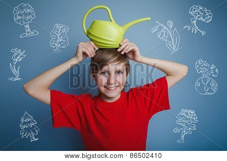 teenager boy with watering can watering a tree Earth infographic
