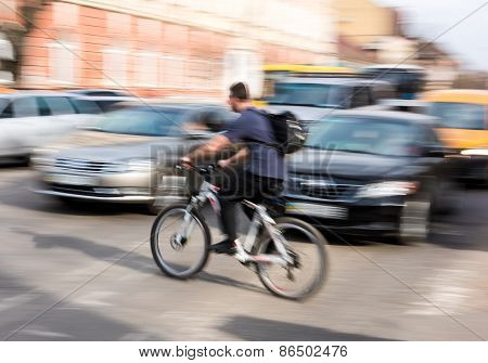 Cyclist On Zebra Crossing