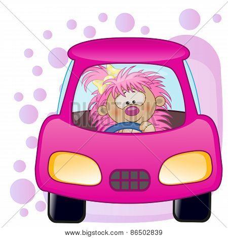 Hedgehog Girl In A Car