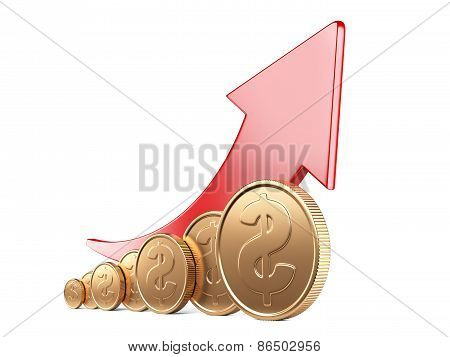 Financial Success Concept. Red Arrow Up And Gold Coins