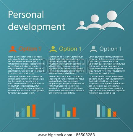 Blue 3 Steps Personal Development Infographic Concept