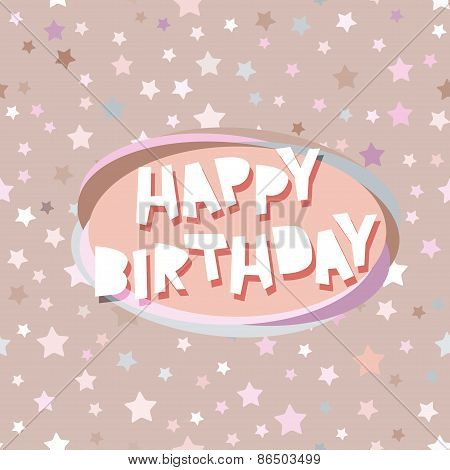 Happy birthday card seamless pattern with stars, pink, beige background. Vector