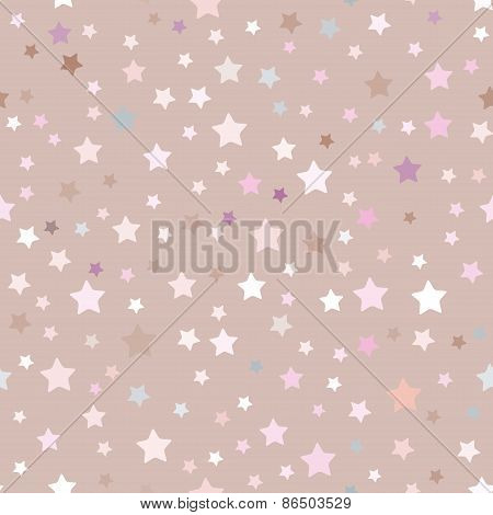 seamless pattern with stars, pink, beige background. Vector