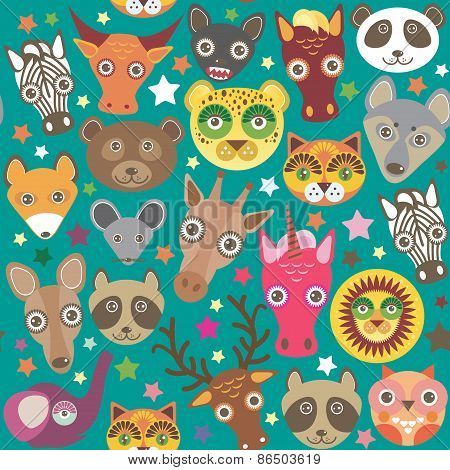 Set of funny animals muzzle seamless pattern. Teal background with stars. Vector