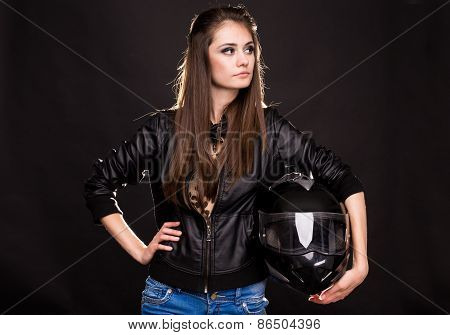 Fashion model with motorbike.