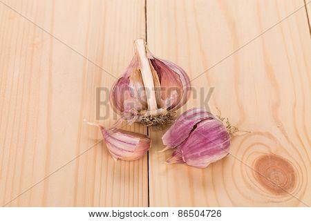 Close up of garlic head.