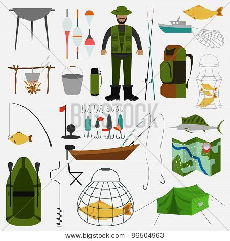 Fishing infographic elements, fishing benefits and destructive fishing
