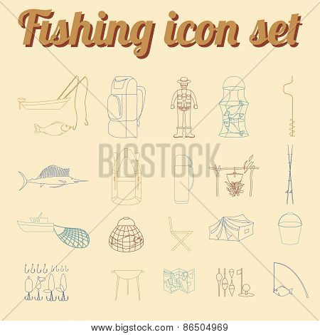 Fishing equipment icon set. Outline version.