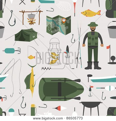Fishing seamless pattern. Fishing design elements