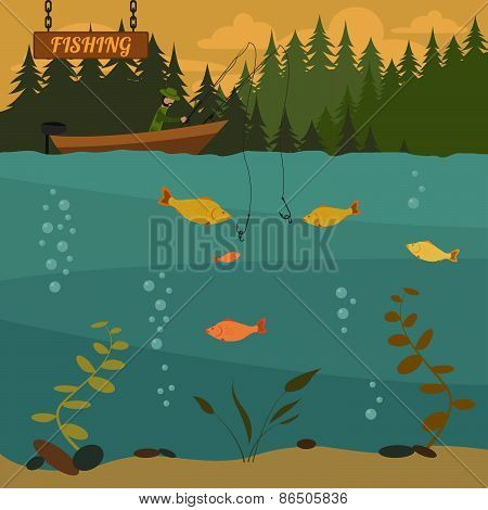 Fishing on the boat. Fishing design elements