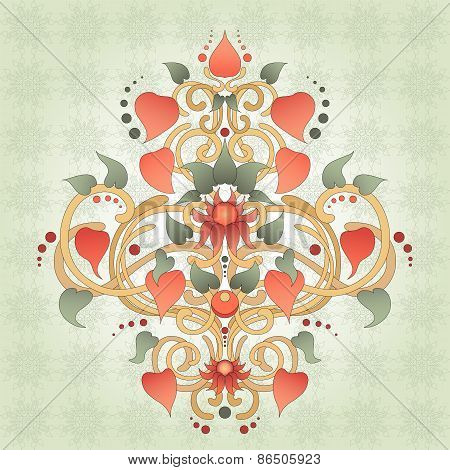 Floral Symmetrically Element For Design Pattern