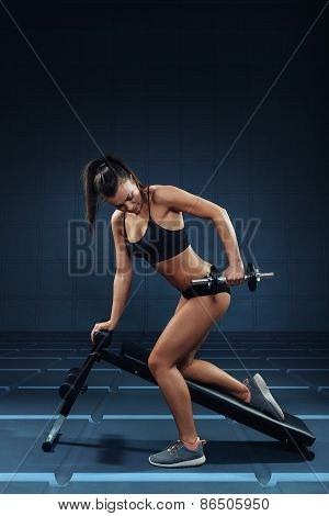 Young Attractive Woman Doing Exercises For The Triceps