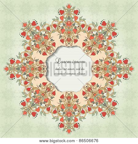 Round Vector Frame With Floral Symmetrical Elements