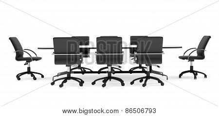 Conference table and black office chairs. Front view. Isolated