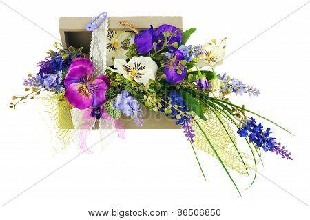 Bouquet From Artificial Flowers Arrangement Centerpiece In Wooden Gift Box.