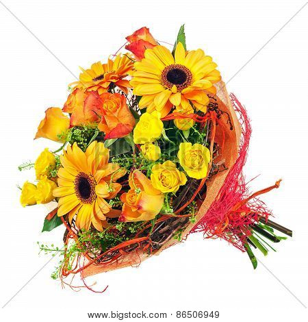 Bouquet Of Gerbera, Roses And Other Flowers Isolated On White.