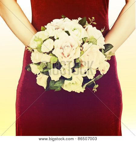 Wedding Bouquet From White And Pink Roses With Retro Filter Effect.