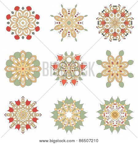 Set Of Nine Floral Circular Design Elements