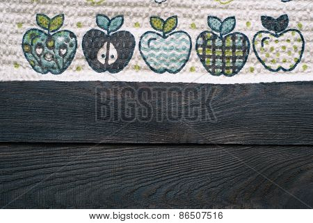 Wooden Table With Kitchen Towel