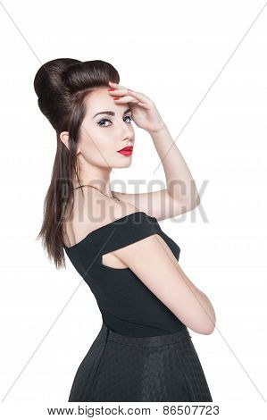 Young Beautiful Woman In Retro Pin Up Style Isolated
