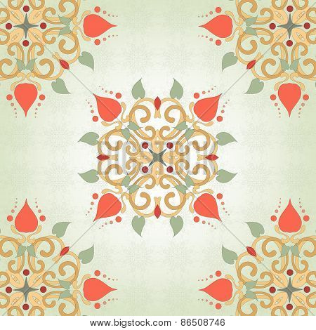 Background With Floral Symmetrical Elements