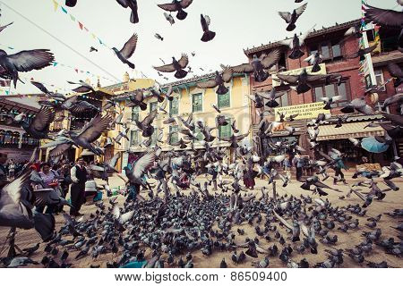 Bodhnath Stupa With Flying Birds At Blue Sky In Kathmandu Valley, Nepal
