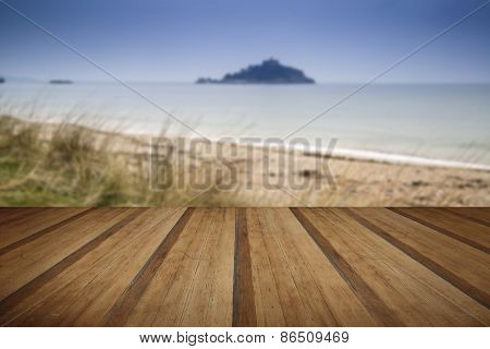 Island Castle Landscape Viewed Through Sand Dunes With Wooden Planks Floor Platform