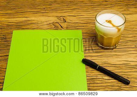 Concept Empty Green Page Idea Coffee