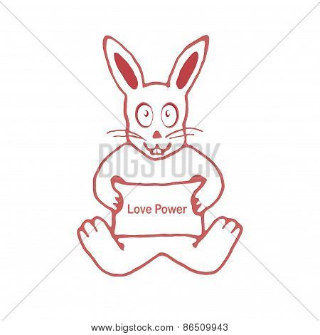 Cute Rabbit With Love Power Text Banner Drawing