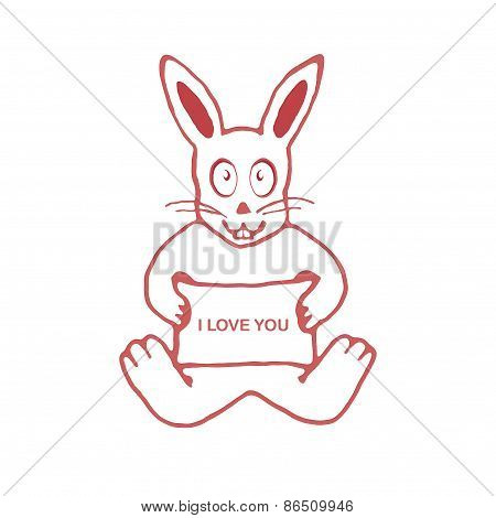 Cute Rabbit With I Love You Text Banner Drawing